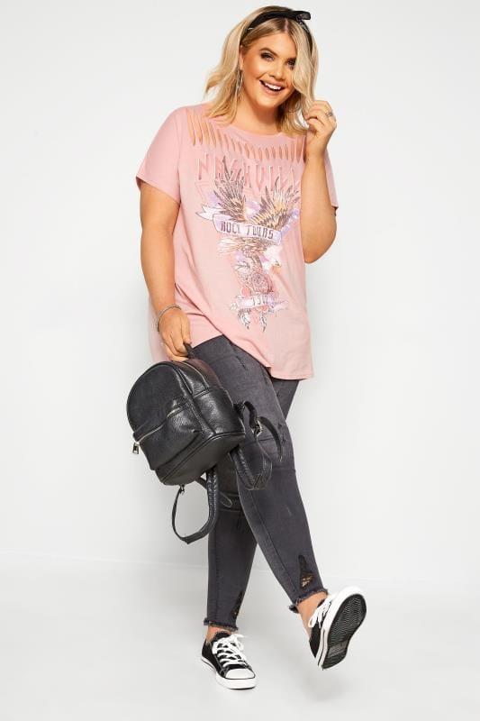 Pink 'Nashville' Laser Cut Slogan Top