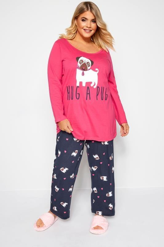Plus Size Pyjamas Pink & Navy Glitter Pug Slogan Pyjama Set