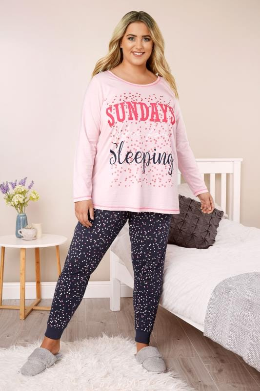 Plus Size Pyjamas Pink & Navy Slogan Pyjama Set