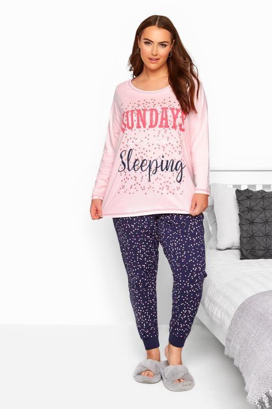 Plus Size Pyjamas Pink & Navy Slogan Pyjama Set