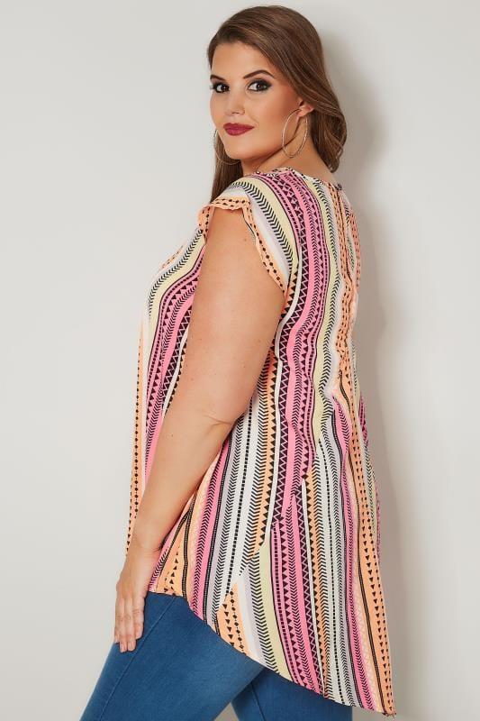 Pink & Orange Aztec Print Woven Top