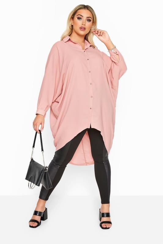 YOURS LONDON Blush Pink Oversized Dipped Hem Shirt