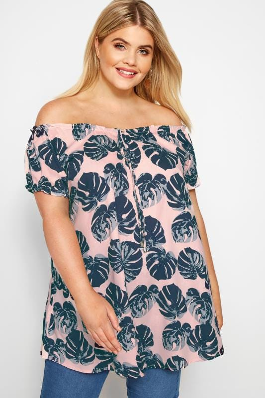 Plus Size Gypsy Tops Pink Palm Print Gypsy Top
