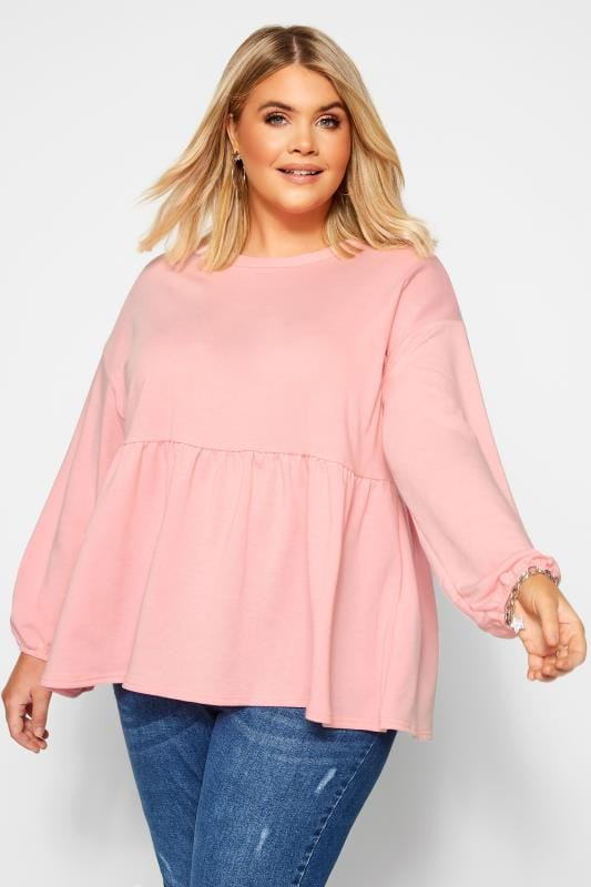 Sweatshirts & Hoodies dla puszystych Pink Peplum Sweatshirt