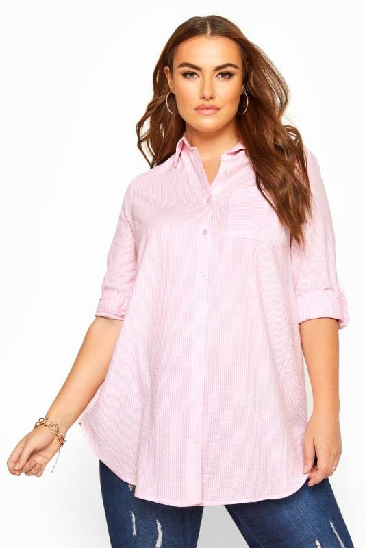 Plus Size Beauty Pink Pinstripe Shirt