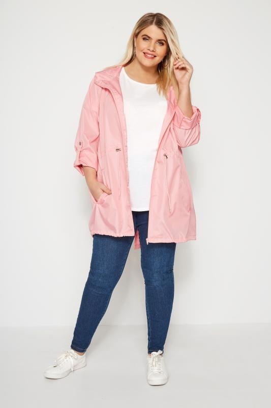 Pink Pocket Parka Jacket With Hood