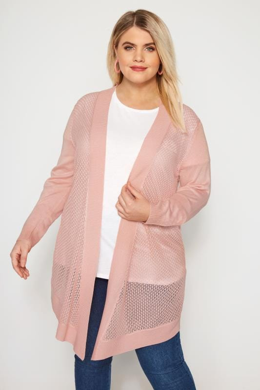 Plus Size Cardigans Pink Pointelle Waterfall Cardigan