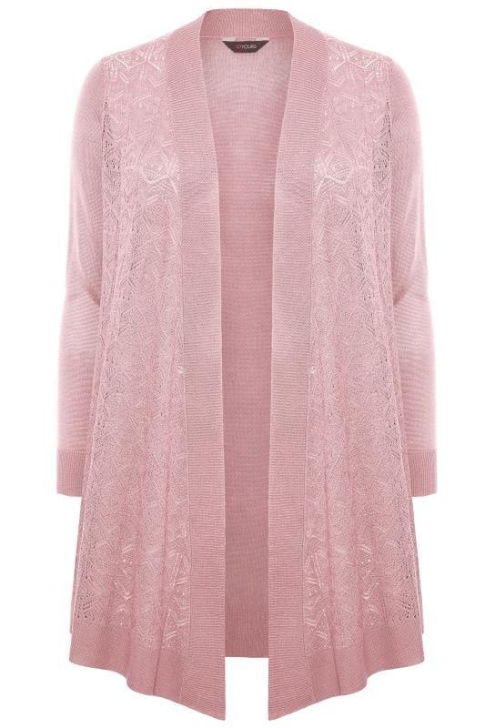 Pink Pointelle Waterfall Cardigan