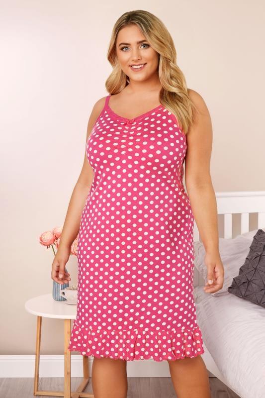 Plus Size Nightdresses & Chemises Pink Polka Dot Chemise