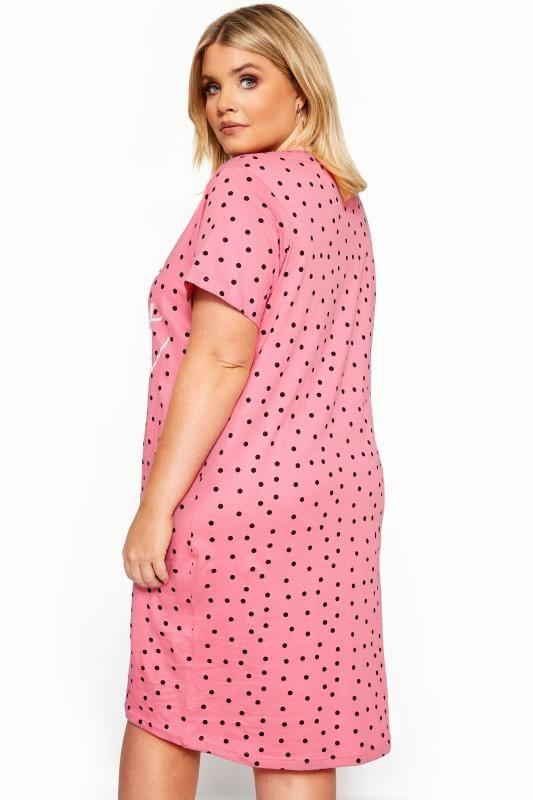 Pink Polka Dot Slogan Nightdress