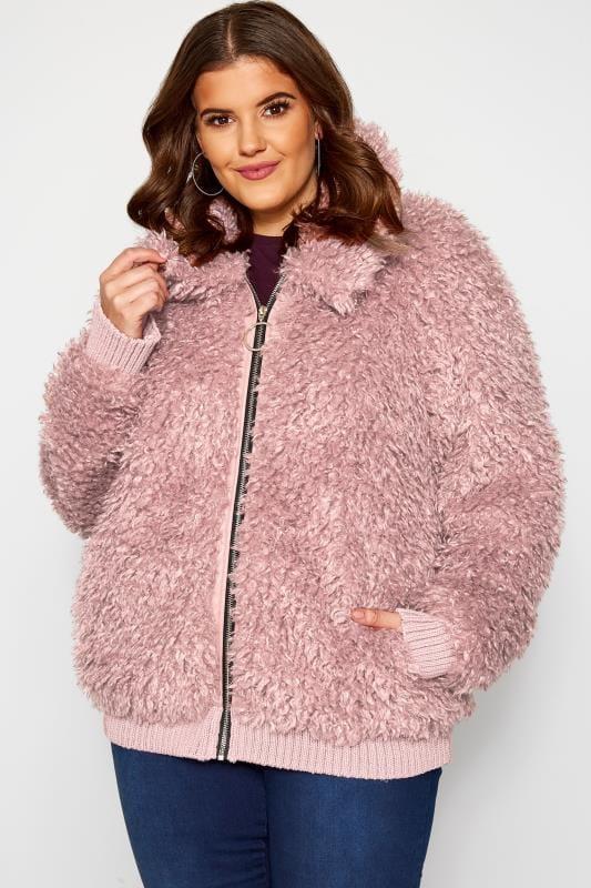 Plus Size Faux Fur Coats Pink Poodle Bomber Jacket