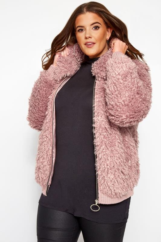 Plus Size Faux Fur Coats Pink Poodle Bomber Jacket