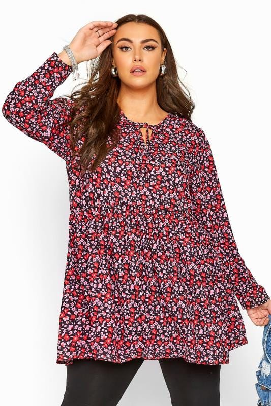 Plus Size Day Tops Pink & Red Ditsy Smock Blouse