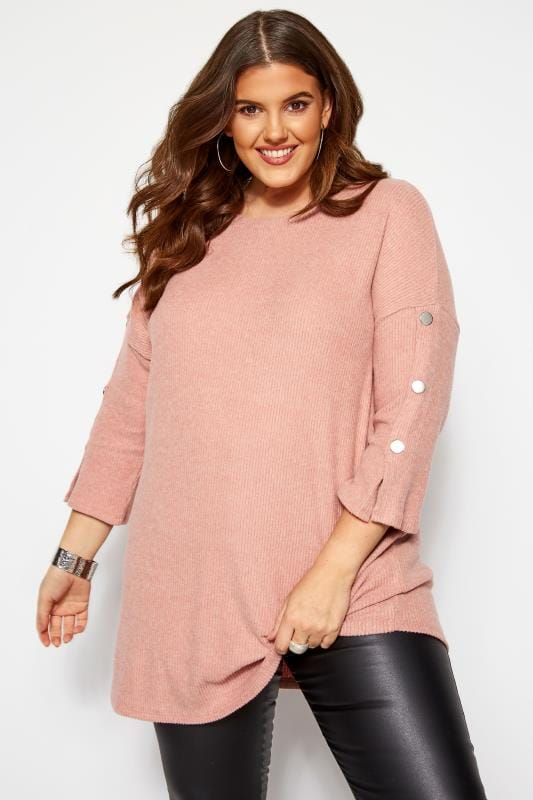 Plus Size Knitted Tops Pink Ribbed Button Knitted Top