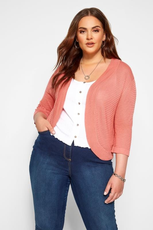 Plus Size Shrugs Pink Ribbed Stitch Detail Shrug