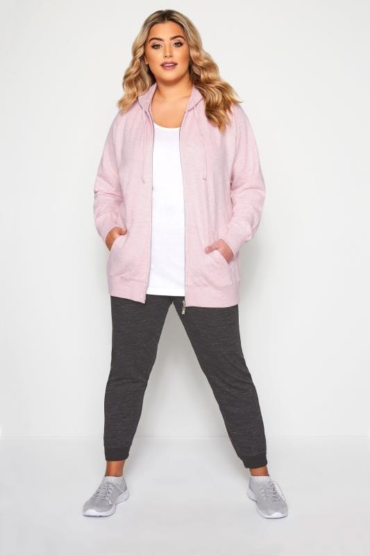 Plus Size Hoodies & Jackets Pink Ribbed Trim Zip Through Hoodie