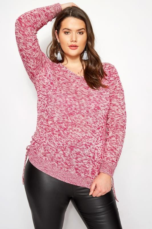 Plus Size Sweaters Raspberry Ruched Hem Lace Jumper