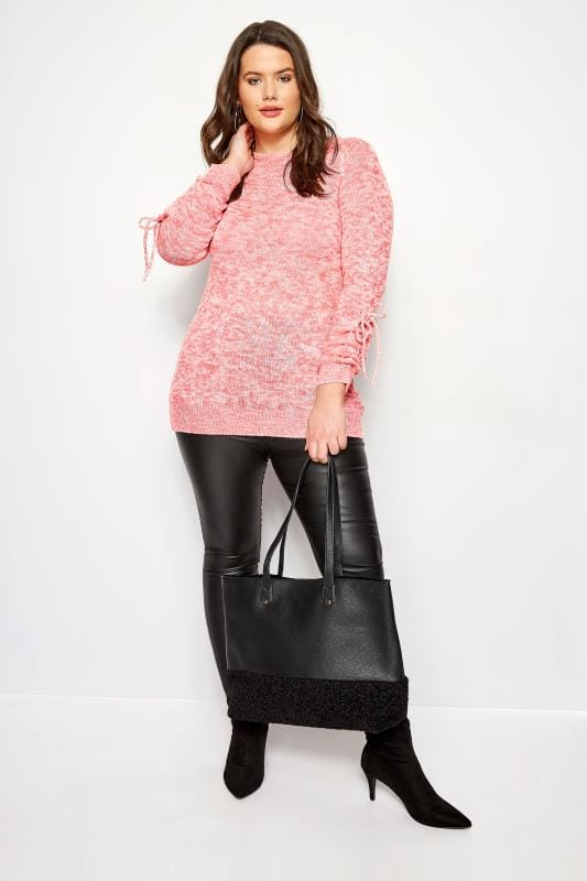 Pink Ruched Sleeve Lace Jumper