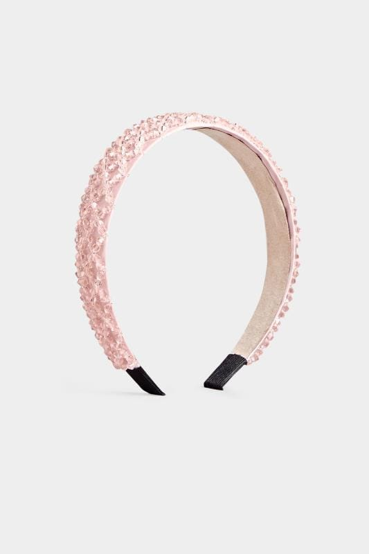 Pink Satin Crystal Headband