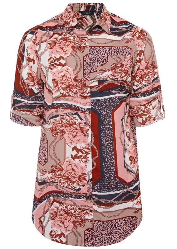 Boyfriend-Hemd mit Halstuch-Muster - Pink/Rot/Weiß