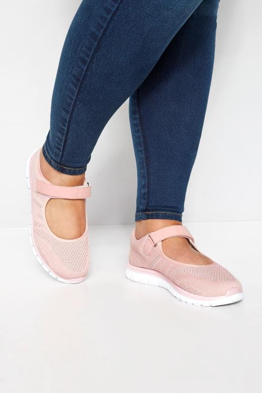 Wide Fit Flat Shoes Pink Shimmer Knit Strap Pumps In Extra Wide Fit