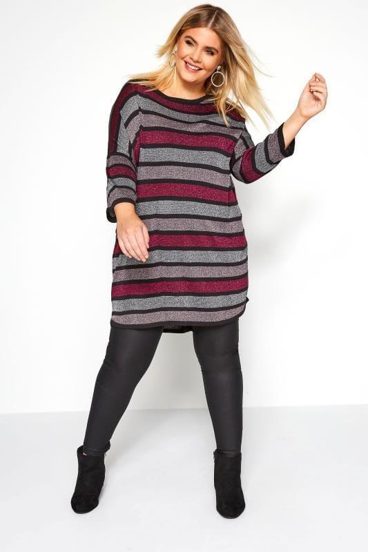 Pink & Silver Metallic Stripe Knitted Top