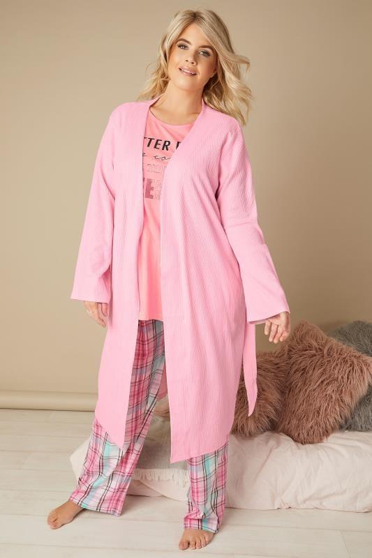 Pink Slogan & Check Print Pyjama Set