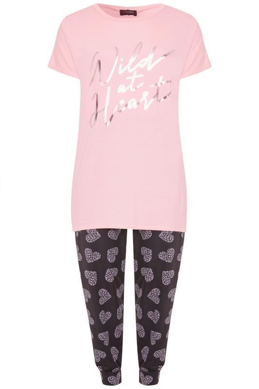 Pink Slogan Heart Print Pyjama Set