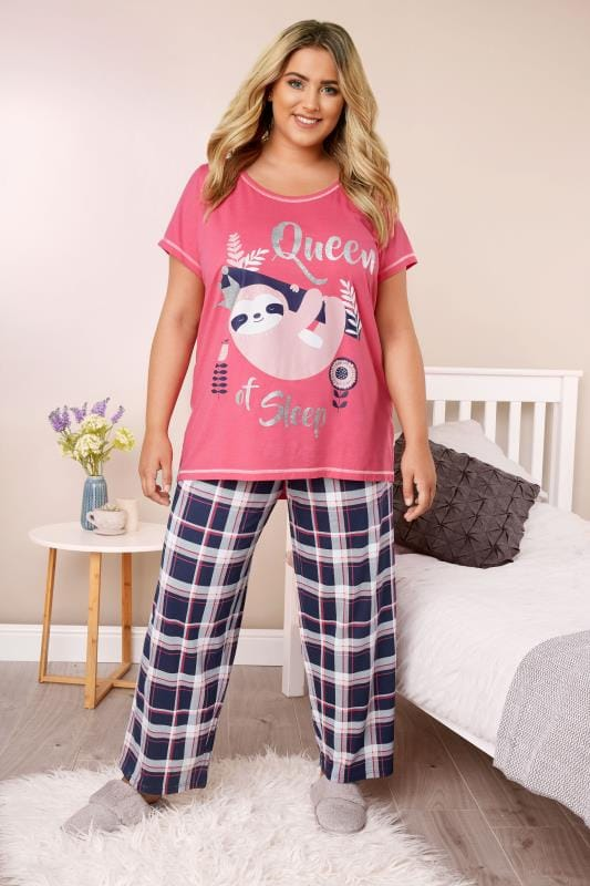 Plus Size Pyjamas Pink Sloth Pyjama Set