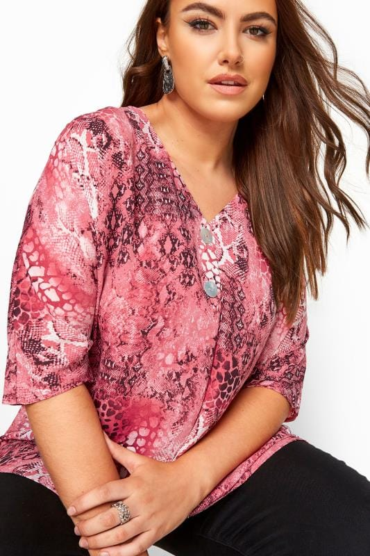 Pink Snake Print Double Button Blouse