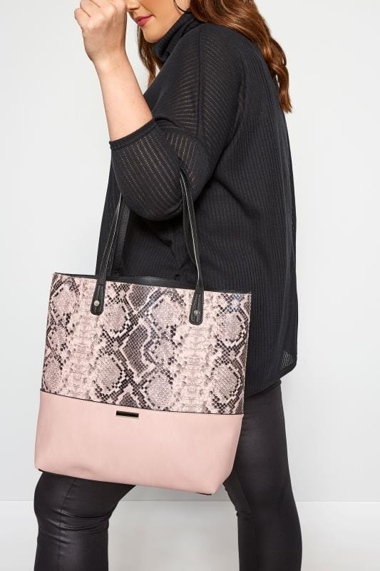Bags & Purses Grande Taille Pink Snake Print Tote Bag