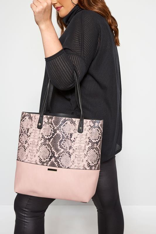 Bags & Purses Pink Snake Print Tote Bag