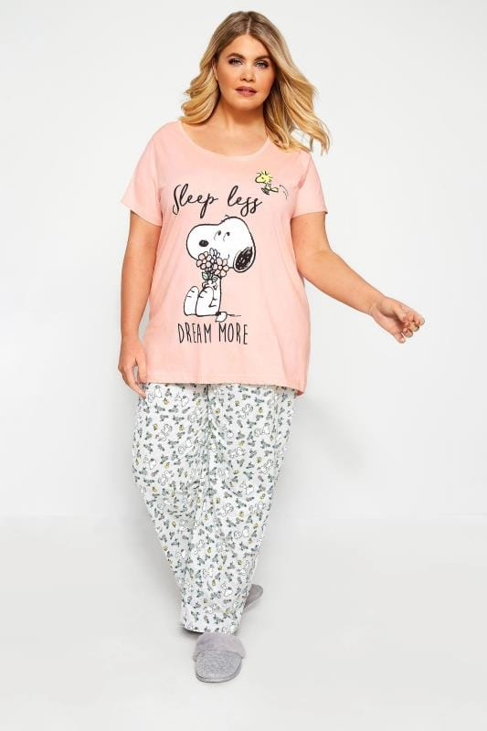 Plus Size Pyjamas Pink Snoopy Slogan Pyjama Set