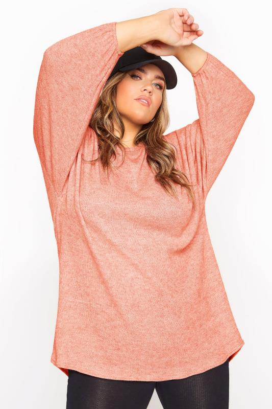 Pink Soft Dipped Hem Waffle Knitted Top