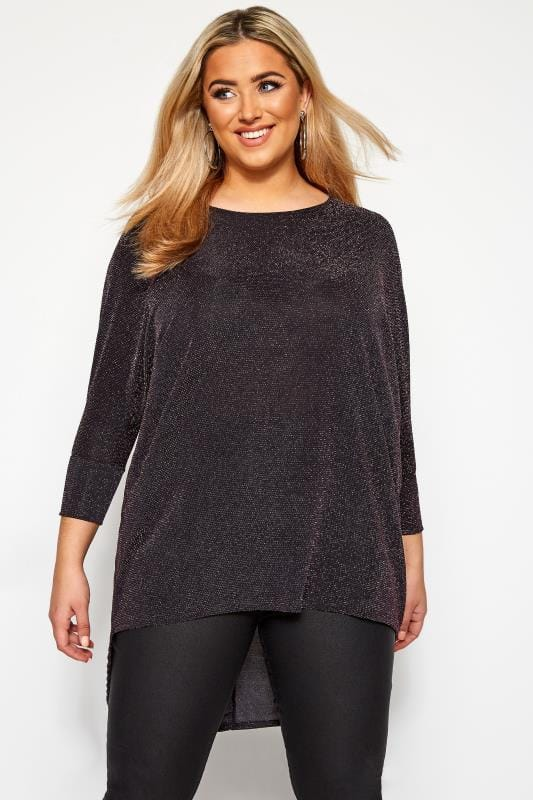 Plus Size Party Tops Pink Sparkle Extreme Dipped Hem Top