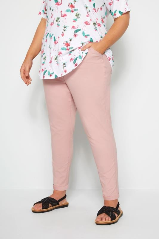 Plus Size Straight Leg Trousers Pink Stretch Chino Trousers