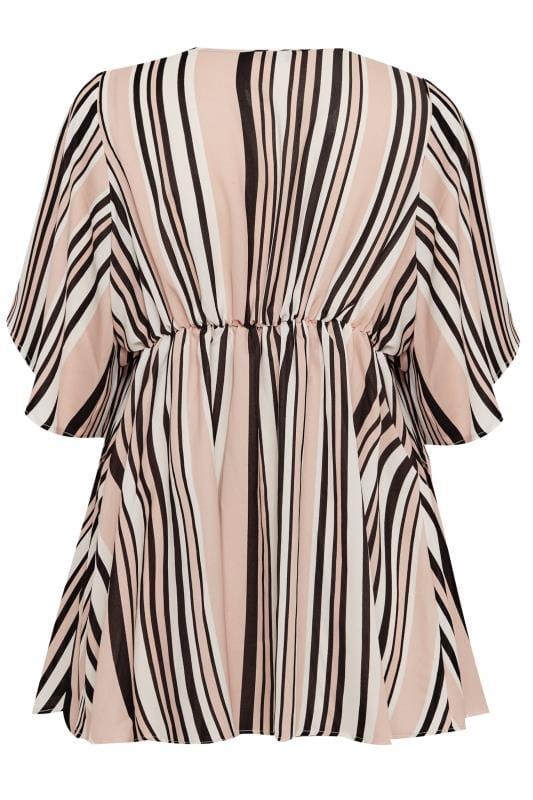 Pink Stripe Chiffon Wrap Top