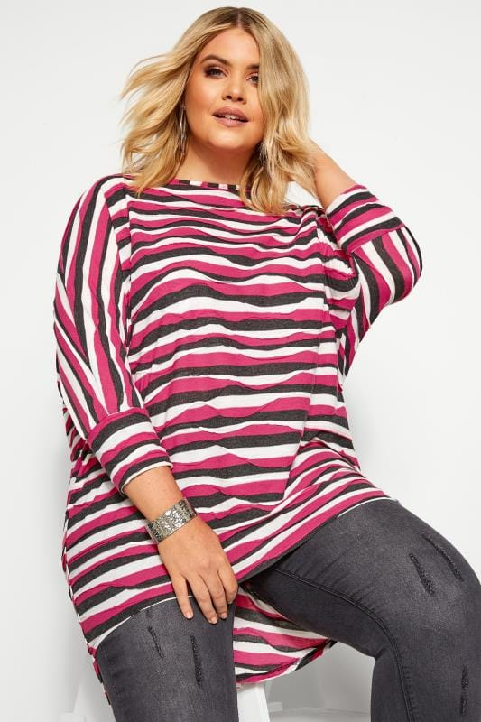 Pink Stripe Extreme Dipped Hem Top