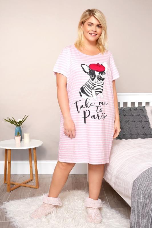 Pink Striped 'Take Me To Paris' Nightdress