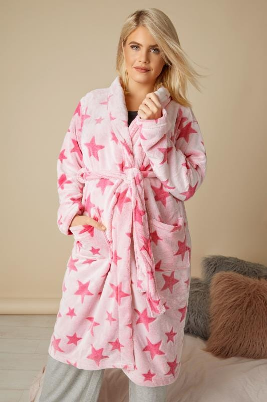 badjassen Roze fleece badjas met sterrenprint
