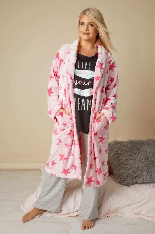 Pink Star Fleece Dressing Gown