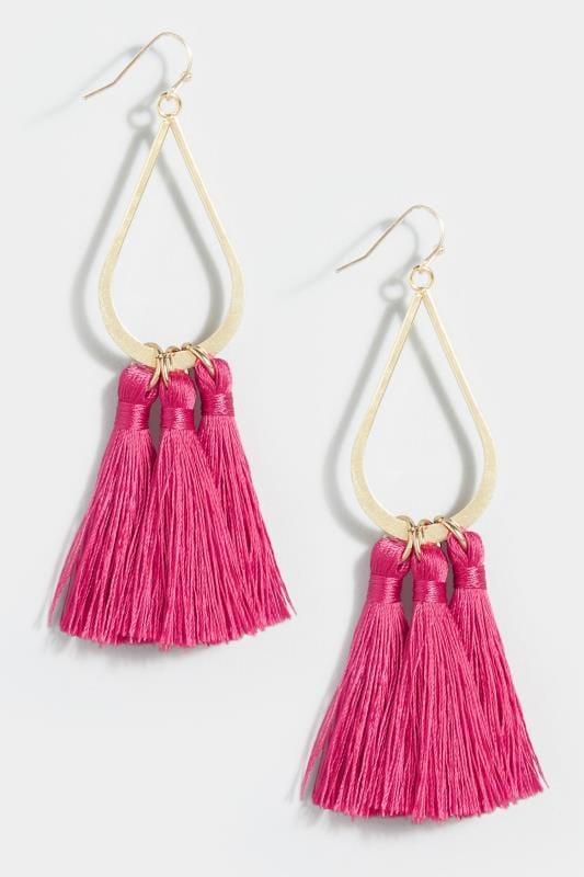Pink Teardrop Tasselled Earrings