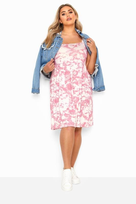 Plus Size Jersey Dresses Pink Tie Dye Print Smock Dress