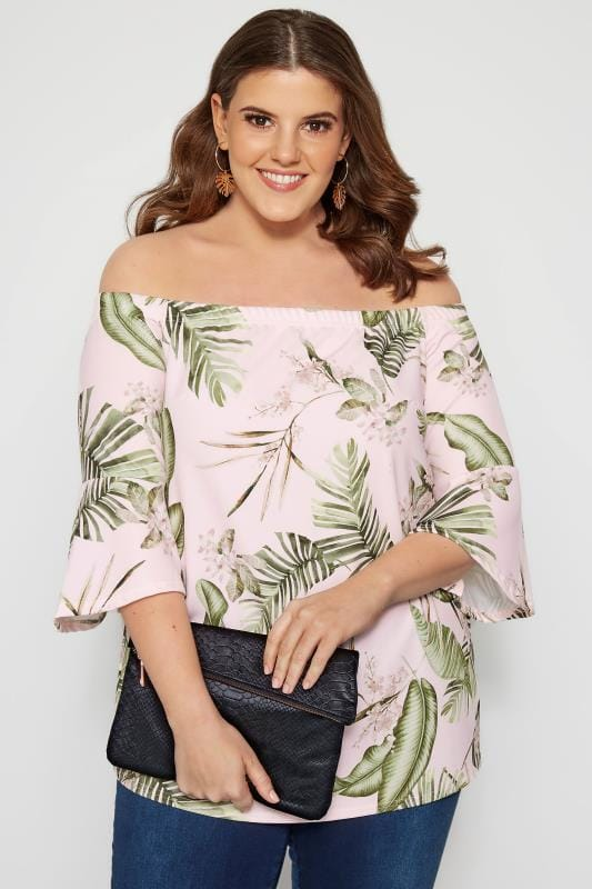 Plus Size Bardot & Cold Shoulder Tops Pink Tropical Bardot Top With Flute Sleeves
