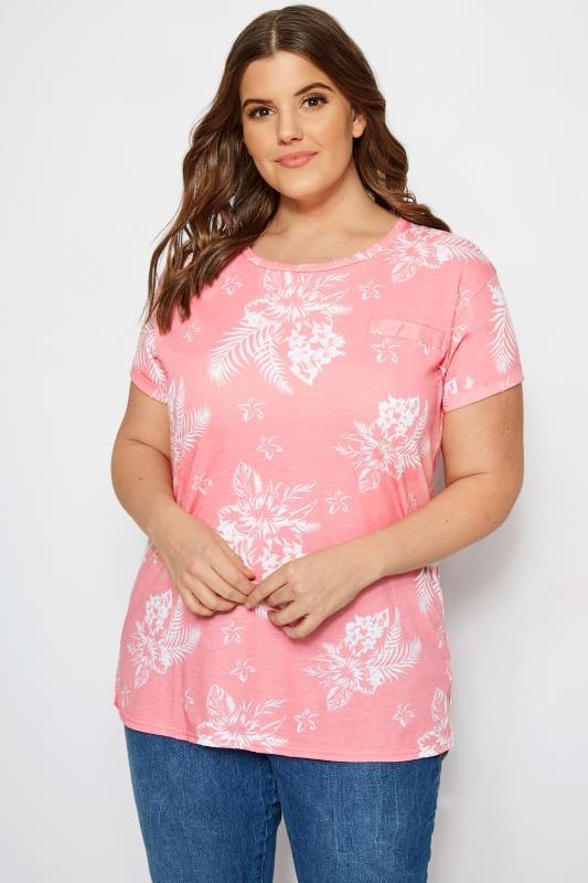 Pink Tropical Floral Mock Pocket T-Shirt