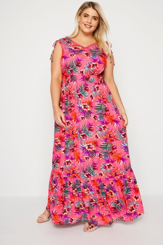 Plus Size Maxi Dresses Pink Tropical Maxi Dress