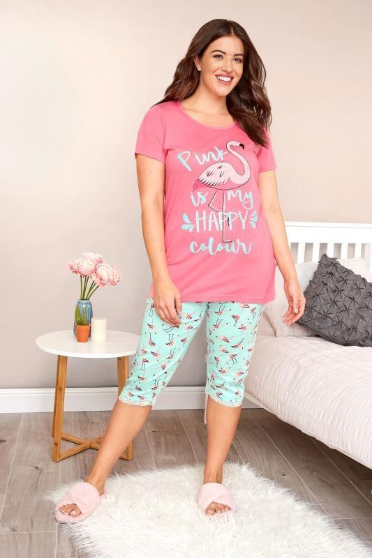 Pink & Turquoise Flamingo Cropped Pyjama Set