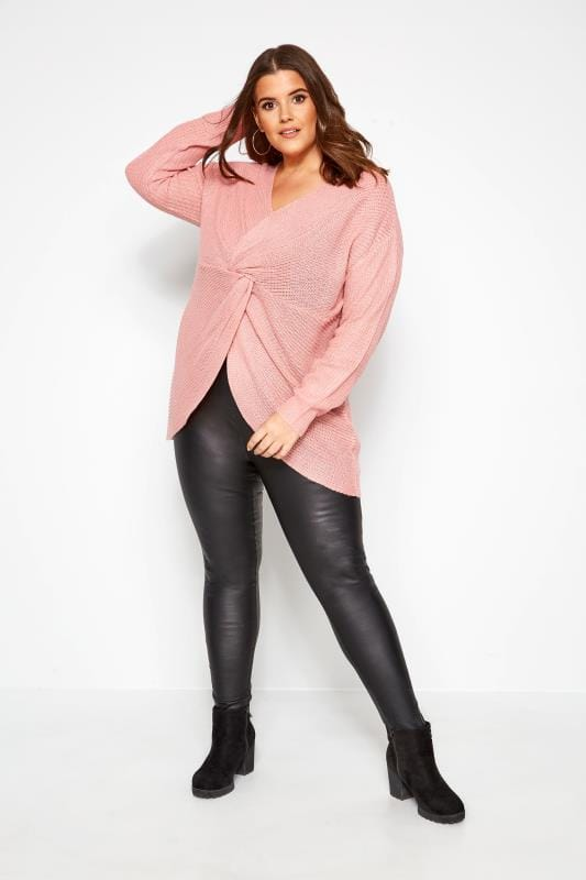 Pink Twist Front Knitted Jumper