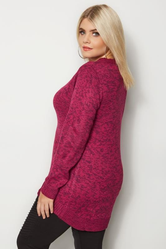 Plus Size Jumpers Pink Twist Knitted Jumper
