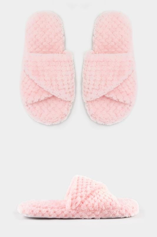 Pink Waffle Cross Over Slippers In Wide Fit